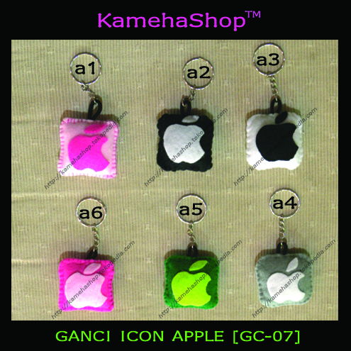 gantungan kunci felt icon apple, ym, bb, fb, twitter,